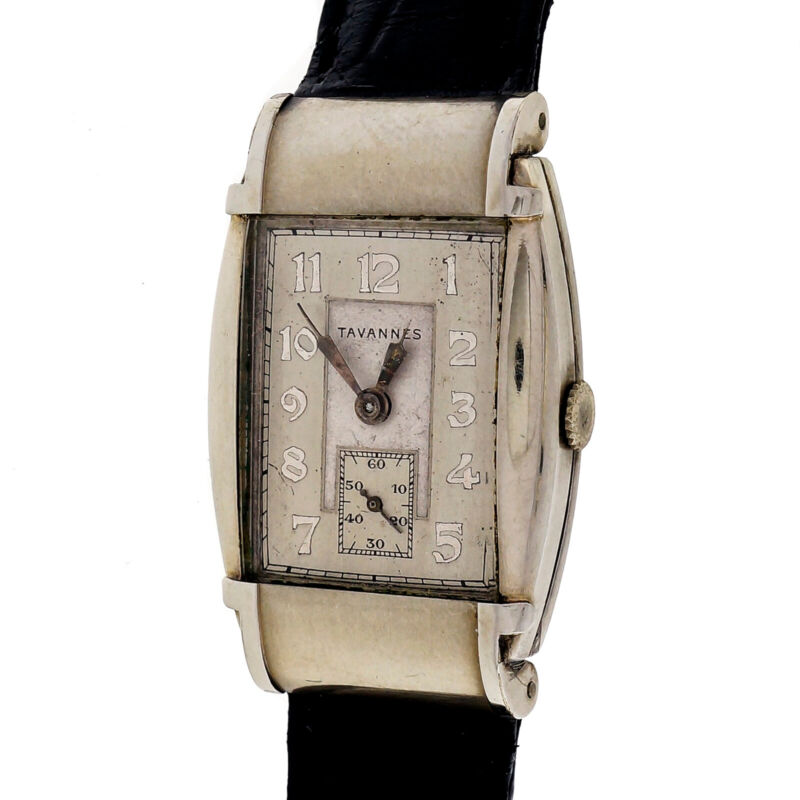 Tavannes 1950 Art Deco Hooded Lug Steel Strap Wrist Watch