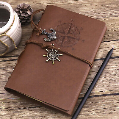 Vintage Classic Refillable Leather Journal Travel Notepad Schedule Book -