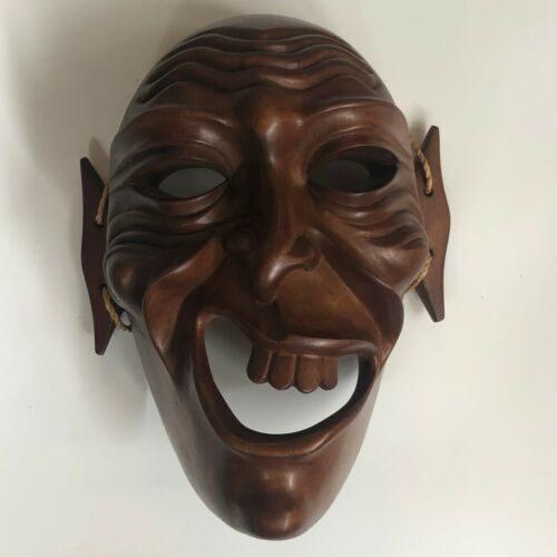 """Asian Polynesian Hand Carved Dark Wood Mask Laughing Vintage Wall Decor 10"""""""