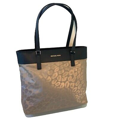 Michael Kors Large Leopard Print Black Gold Shoulder Bag