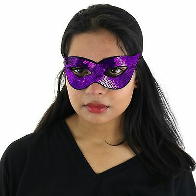 Adults / Kids Halloween Masquerade Carnival Party Sequin Cat Eye Mask - Purple ()