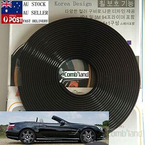 Black 8M Car Wheel Rim Protector Tire Guard Line Rubber Moulding Korea Design