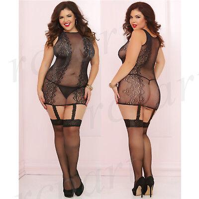 Damen Reizwäsche Einteiler Spitze Körperstrumpf Kleid Schwarz Plus Einheitsgröße ()