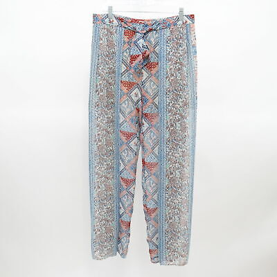Elevenses Palazzo Pants Wide Leg 6 Seaflower Blue Red Printed Anthropologie