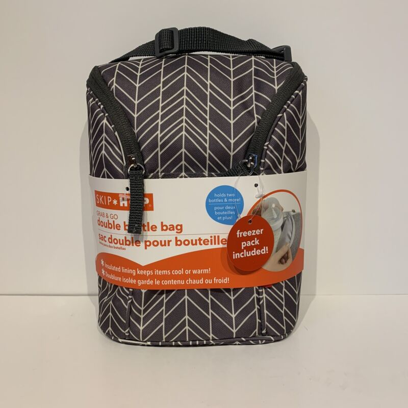 Skip Hop Grab & Go Double Bottle Bag - Insulated Lining w/ Gel Freezer Pack NWT