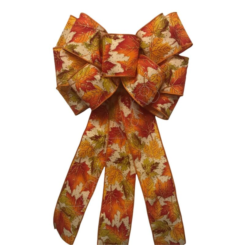 Fall Leaves Wired Handmade Bow for Wreath Lanterns