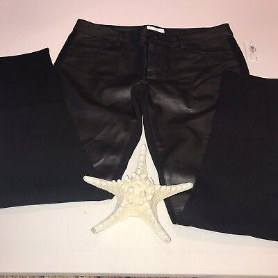 Bisou Bisou Womens Pants sz8 NWT Faux Leather Black Stretchy Skinny Sporty Jeans