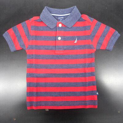 Toddler Boys Nautica $34.50 Navy & Red Striped Polo Shirt Sizes 2T - 4T