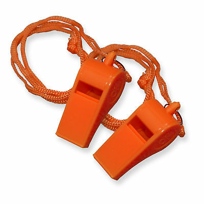 2 Pack  Orange Plastic Safety Whistle With Lanyard for Boats   Raft   Emergency - Plastic Whistles Bulk