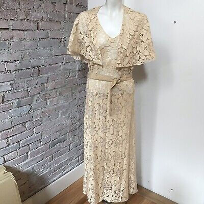 DRESS 30s WEDDING LACE Dress and Caplet Bias Cut  DECO CROCHET , used for sale  Shipping to Canada