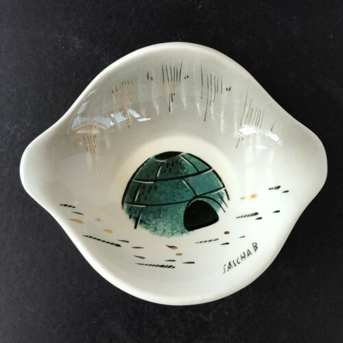 VTG MCM Sascha Brastoff Pottery Alaska Series Eskimo Igloos Candy Bowl Dish C2