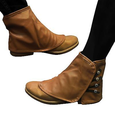 Brown Spats Steampunk Shoe Boot Covers Leather look Footwear Ankle cover Foot BN - Leather Boot Covers
