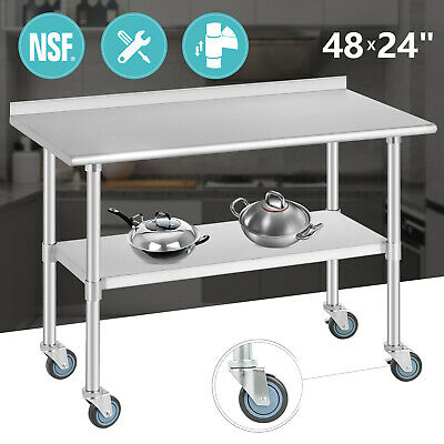 Commercial Prep Work Table 48x24 Stainless Steel Kitchen Wcasters Backsplash