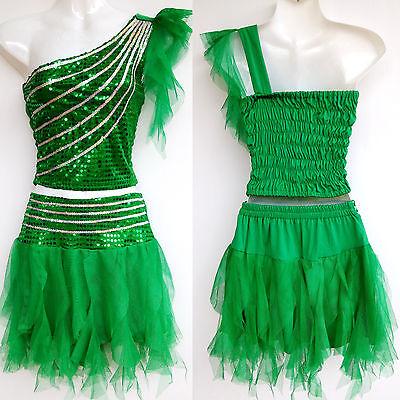 Kinder Mädchen Damen Cheerleader-Kostüm/Kleid Fasching/Cosplay Grün Gr.98-188  (Cheerleader Kostüm Grün)