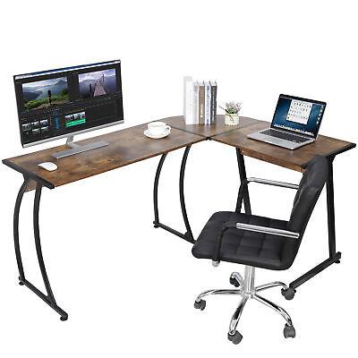 Brown L-shape Corner Desk Computer Game Office Laptop Workstation Indoor