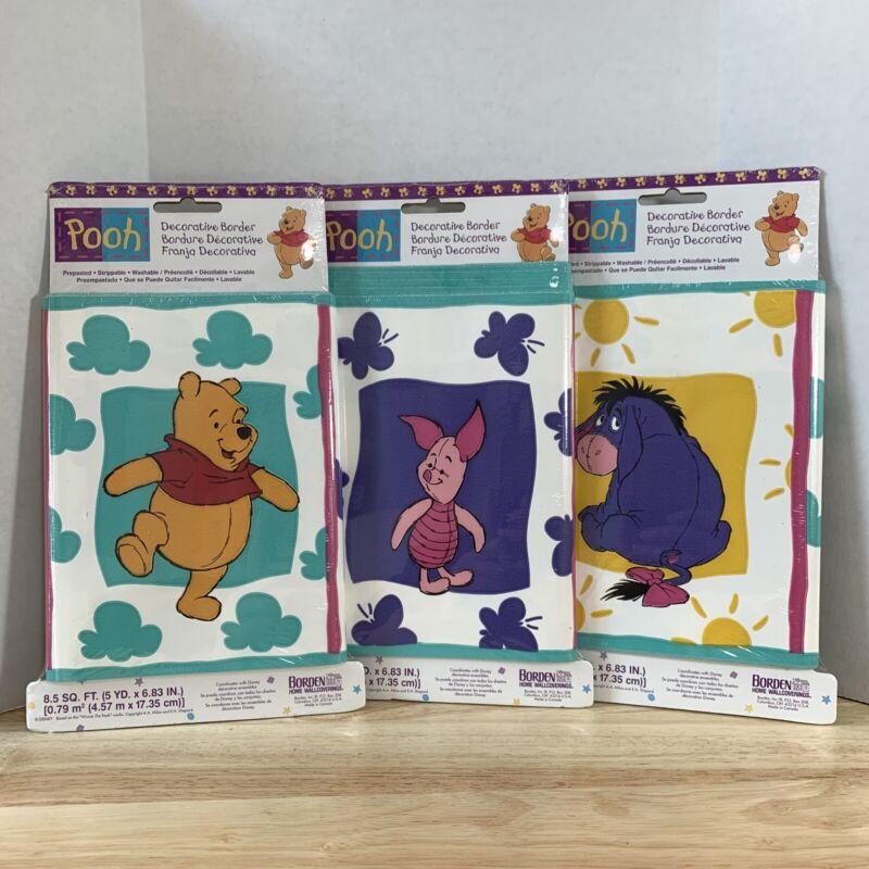 3 Disney Classic Winnie The Pooh Wallpaper Decorative Border w Eeyore & Piglett