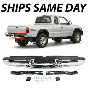 NEW Chrome - Complete Rear Steel Bumper Assembly For 1995-2004 Toyota Tacoma