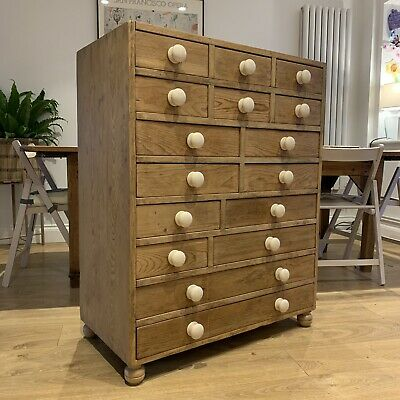 ANTIQUE PINE CHEST OF DRAWERS Haberdashery Storage Multi Drawer 86w x 45d x 109h