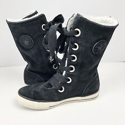 Converse Girls All Star Chuck Taylor Black Lace Up Tall Sneaker Boot Shoes SZ 2