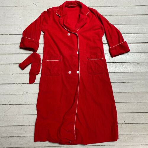 VTG 1950s BELLARILLA Red Corduroy Bath Robe SM MED