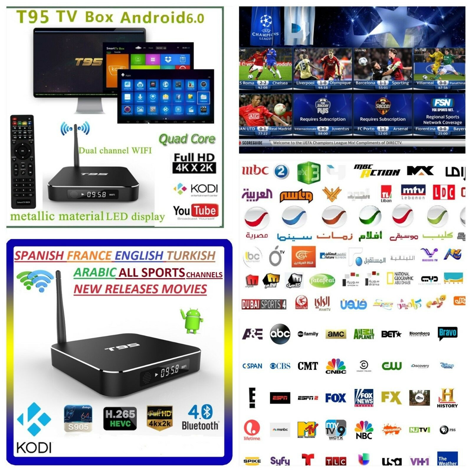 4k Arabic English Turkish Receiver Wi Fi Tv Box Android