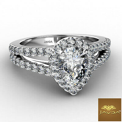 Halo French Setting Pear Diamond Engagement Split Shank Ring GIA F VS1 1.25 Ct 1