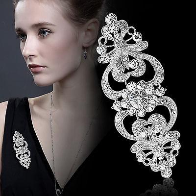 Vintage Style Bridal Wedding Bouquet Shiny Flower Rhinestone Diamante Brooch Pin