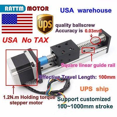 Us Cnc Ball Screw Linear Slide Stroke 1605-100mm Z Axis Nema23 Stepper Motor