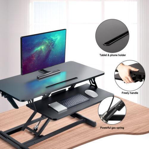 "Glorider Standing Desk Converter - 34.0"" Height Adjustable Stand Up Desk Riser"