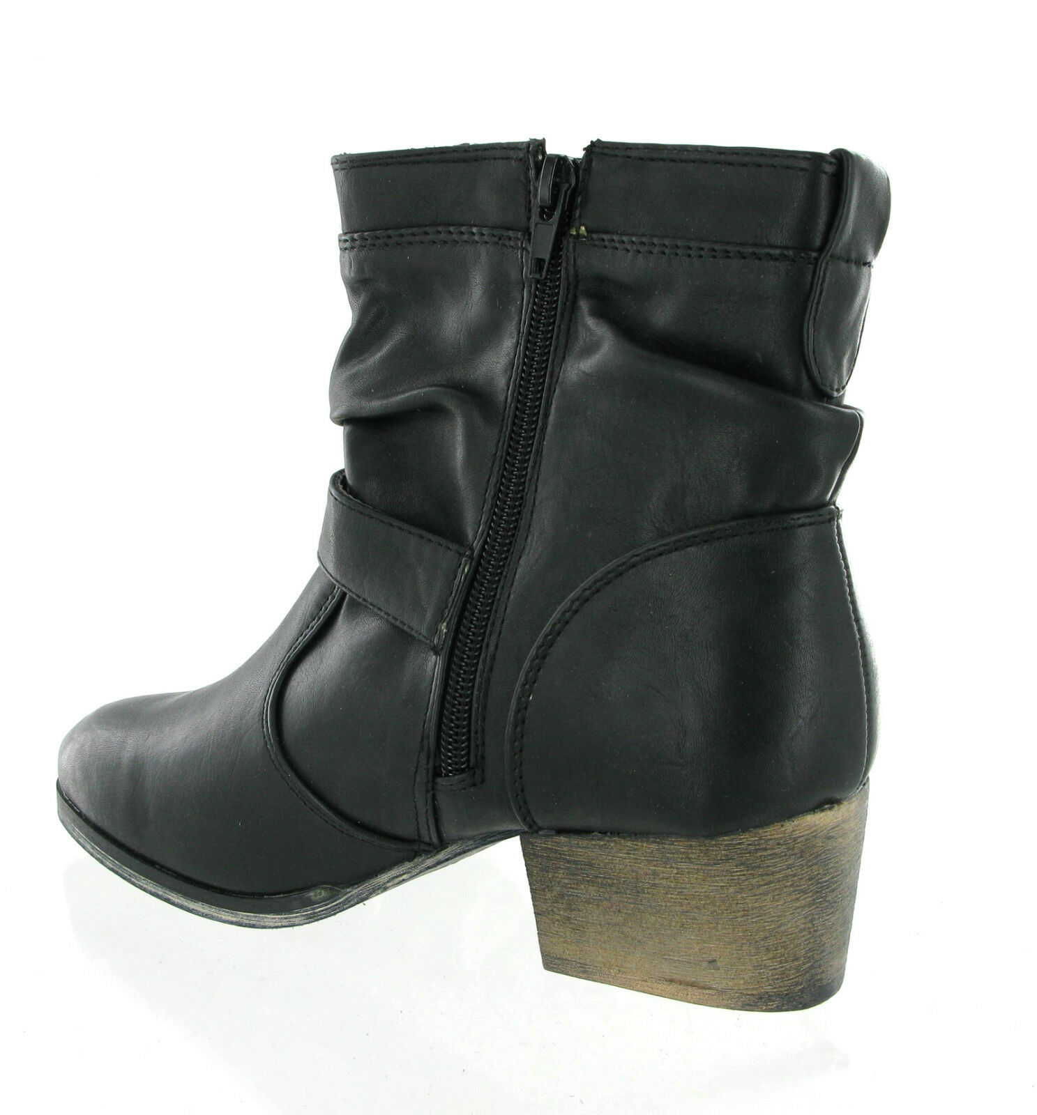 Fashion Womens Cowboy Buckle Ankle Casual Zip Up Block Heel Boots UK 3-8