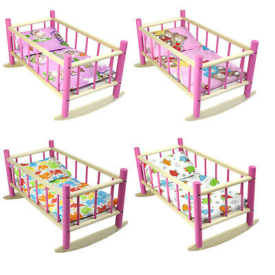 """DOLLS ROCKING BED COT CRIB WOODEN PINK Fits Up to 50cm 19"""" Doll"""
