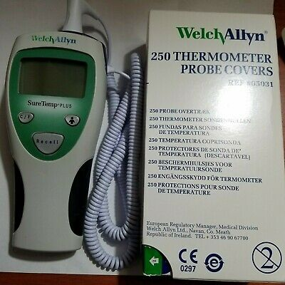 250 Welch Allyn Disposable Probe Covers Free Suretemp Plus 690thermometer Used