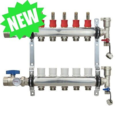 5 Loopport Stainless Steel Pex Manifold Radiant Heating W Connectors - Pex Guy