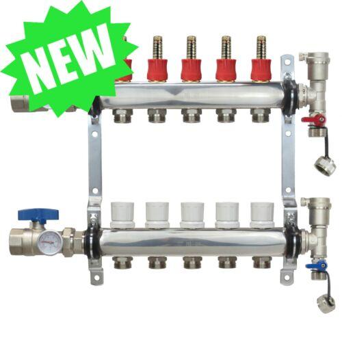 5 Loop/Port Stainless Steel PEX Manifold Radiant Heating w/ connectors - PEX GUY