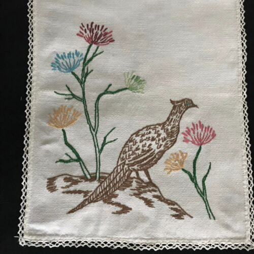 """Antique Vintage Primitive Country Style Hand Embroidered Tea Towel  34 1/2"""" x13"""