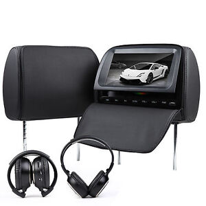 C1037-2x9-LCD-In-Car-Black-Pillow-Headrest-DVD-Player-Monitor-Hedphone-m1