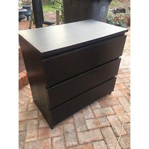 Old black veneer tall boy with 3 drawers