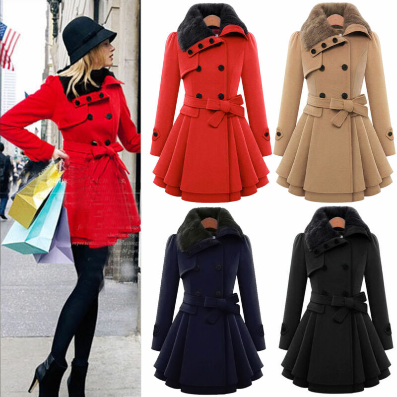 Women Thicken Fur Collared Winter Long Peacoat Coat Trench Outwear Jacket Dress 1