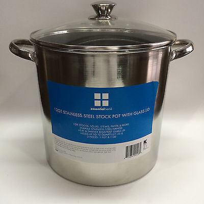 Essential Home 12 Quart Stock Pot with Glass Lid Free Shipping New
