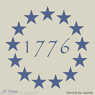 "Americana STENCIL 2"" Stars Patriotic Circle 1776 Primitive Betsy Ross Flag Signs"