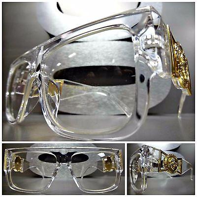 CLASSIC VINTAGE HIP HOP RAPPER Clear Lens EYE GLASSES Transparent & Gold Frame