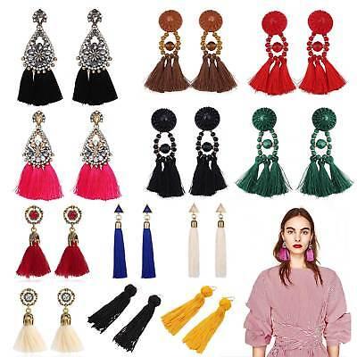 Rhinestone Long Tassel Dangle Earrings Women Ladies Girls Thread Fringe Drop-