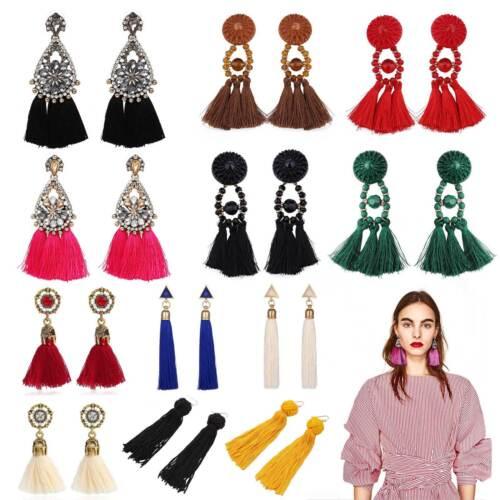 Women Fashion Rhinestone Long Tassel Dangle Earrings Fringe Drop Earrings UK