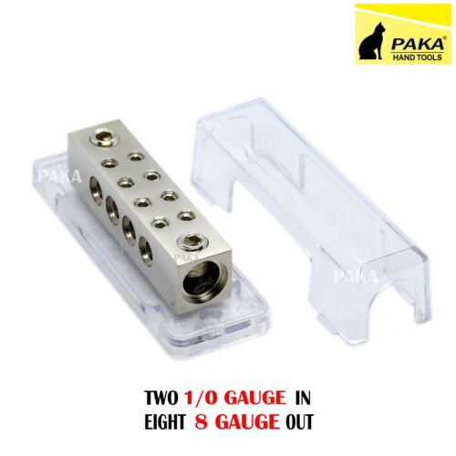 Ground Distribution Block Two 1/0 Gauge Wire AWG 12v Inputs - 8 Gauge Output