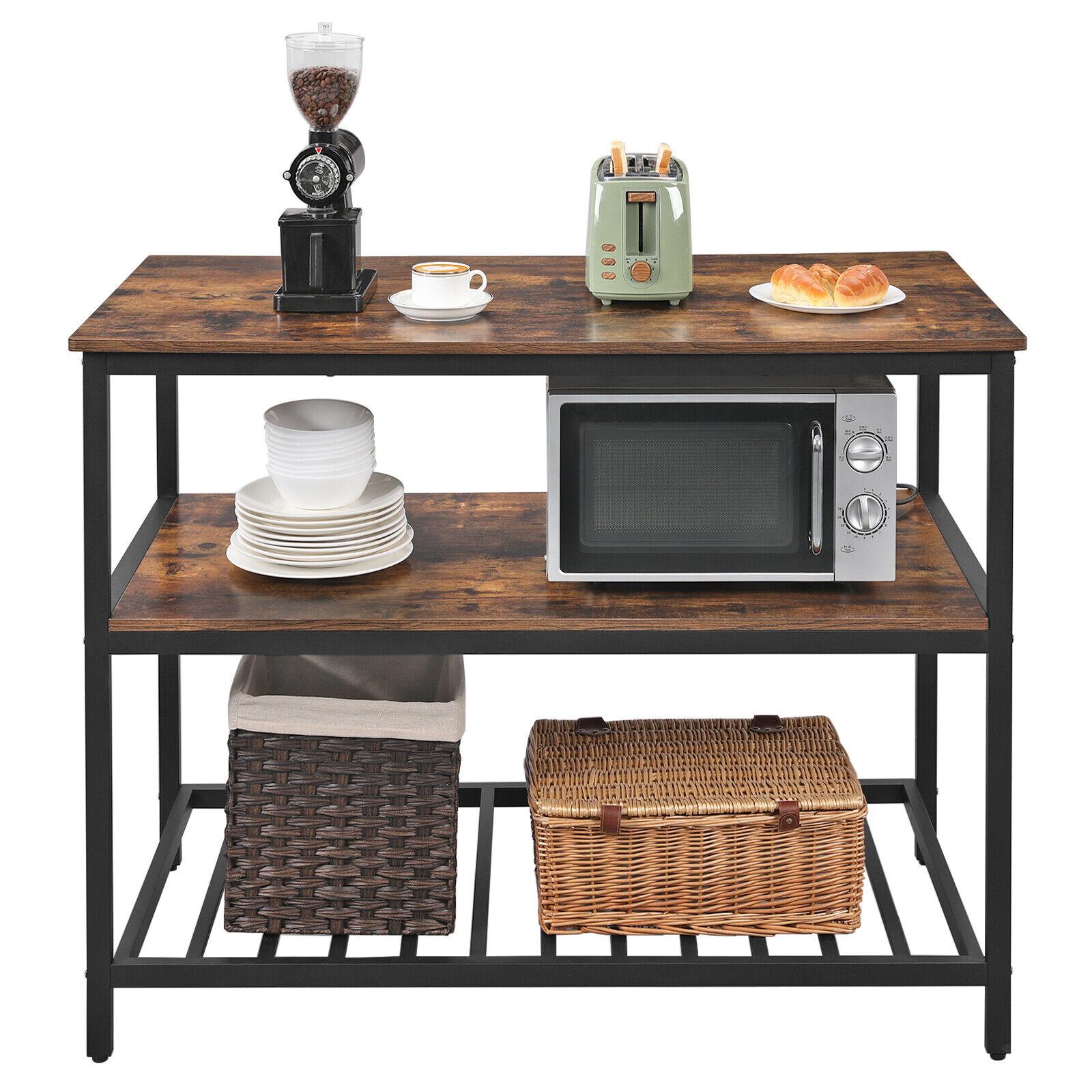 Küchenregal mit 3 Ablagen, Kücheninsel mit großer Arbeitsplatte Standregal 120cm