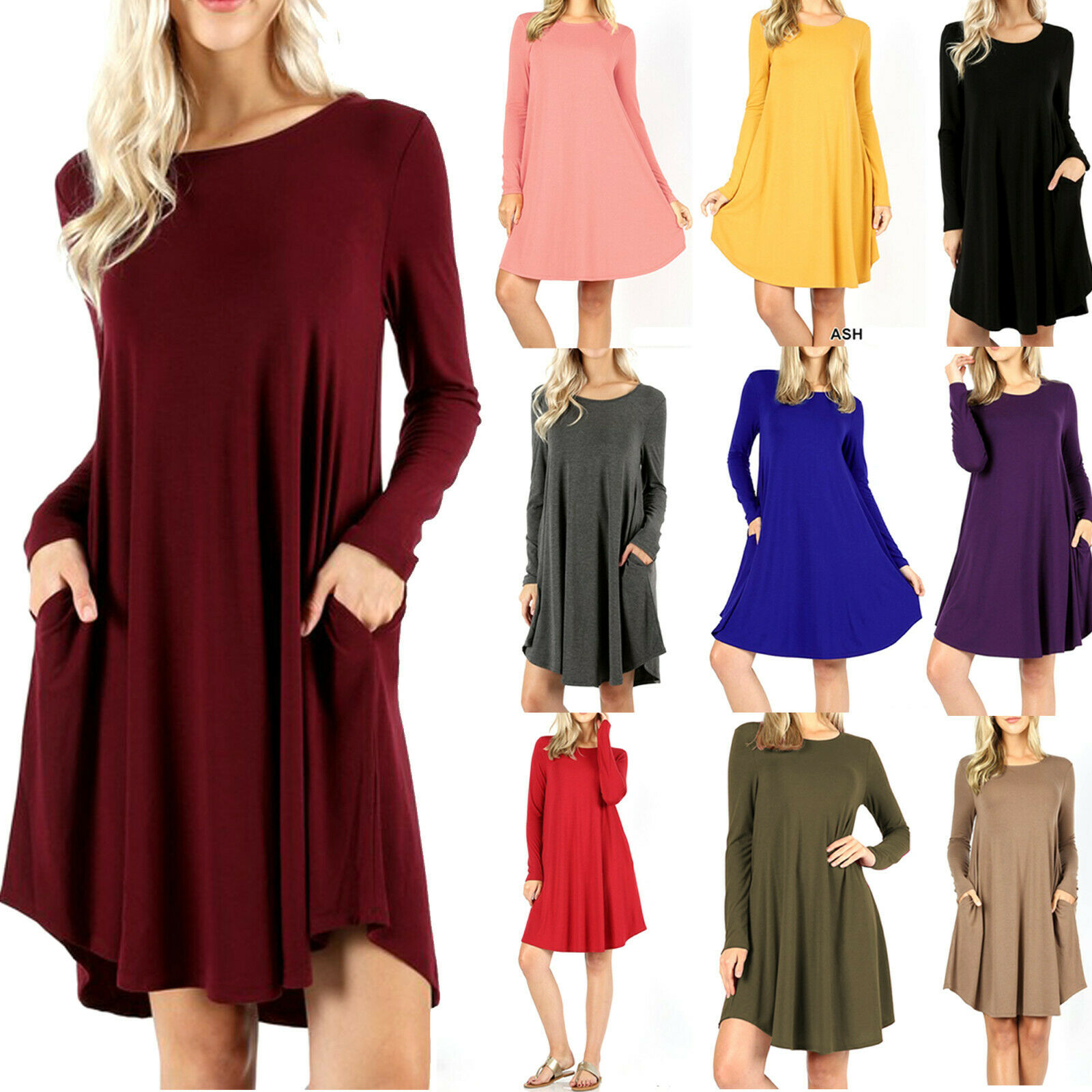 Women's Long Sleeve Day Dress with Side Pockets Swing Fall Tunic T-Shirt Casual Clothing, Shoes & Accessories