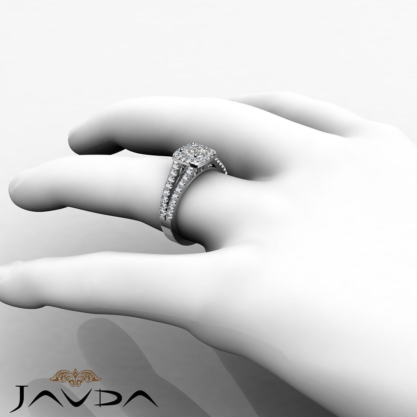 Round Diamond Engagement Halo Split Shank Ring GIA E VVS1 14k White Gold 1 1/4ct 6