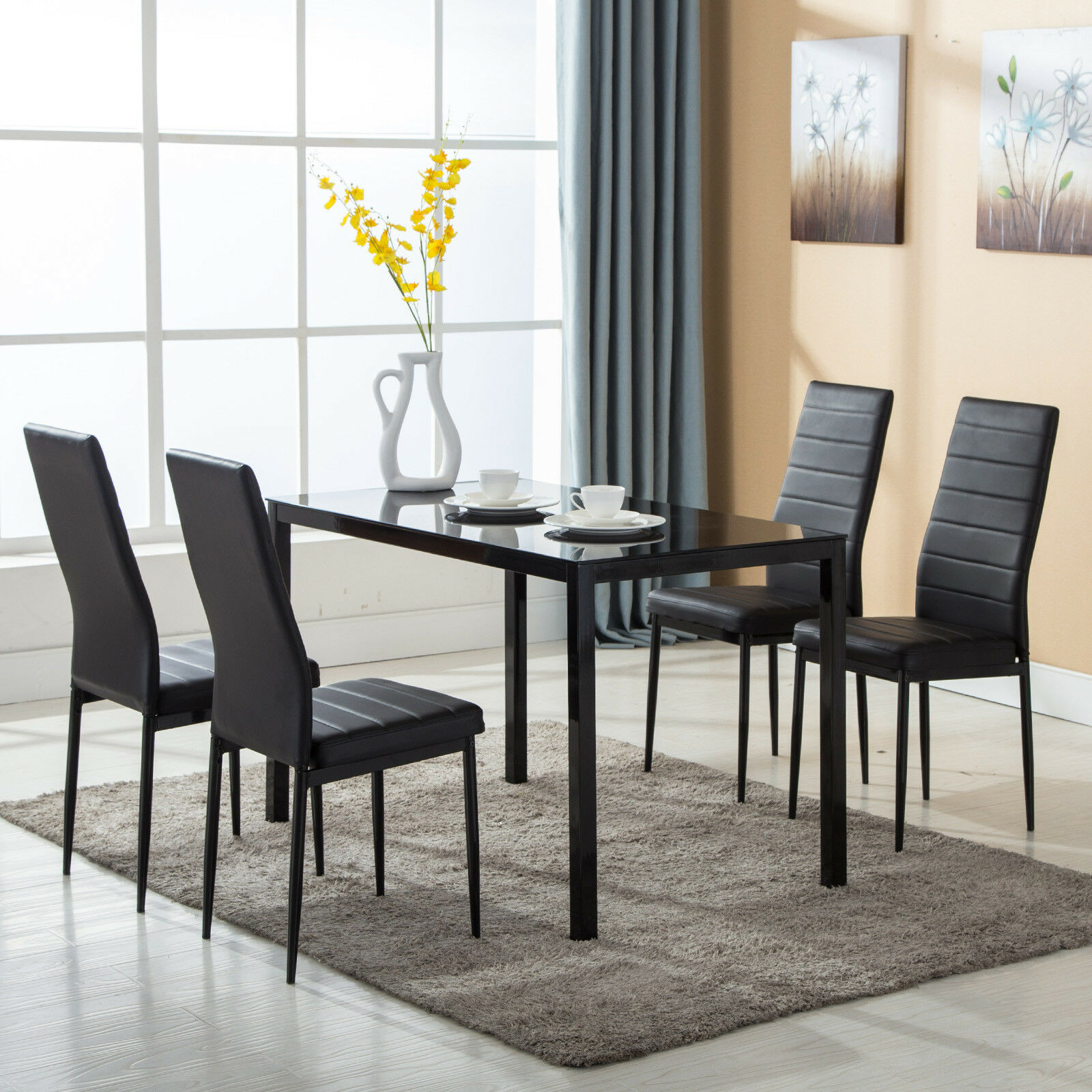 Details about 5 Piece Dining Table Set 4 Chairs Glass Metal Kitchen Room  Breakfast Furniture