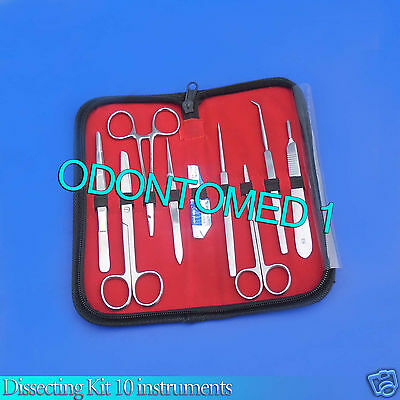 Dissecting Kit 10 Instruments Dissection Surgical Medical Veterinary