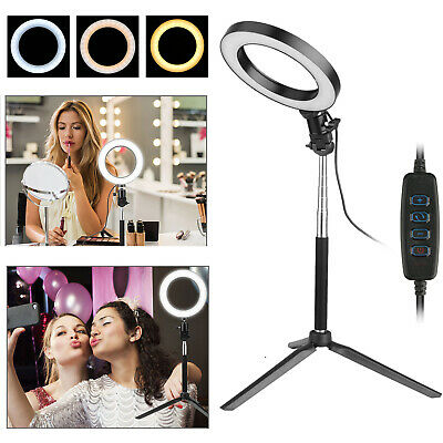 Dimmable LED Ring Light Lamp Tripod Stand Camera Photo Studio Selfie Phone Video